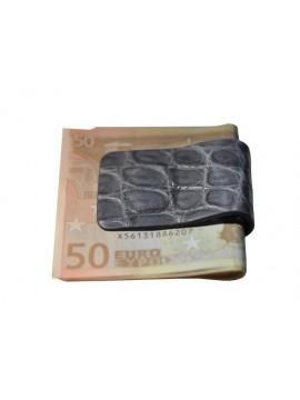 PINCE A BILLETS en crocodile bleu jean