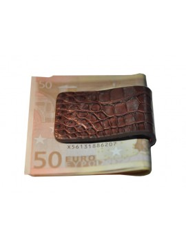 PINCE A BILLETS en crocodile chocolat