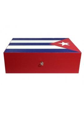 Cave à cigares en marqueterie de cuir Drapeau Cubain