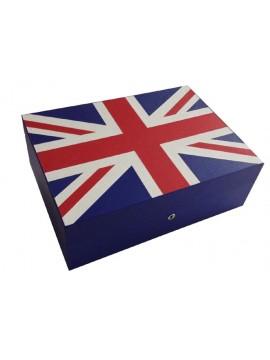 Cave à cigares en marqueterie de cuir Drapeau de la Grande Bretagne