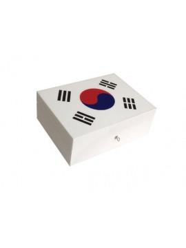 Cave à cigares en marqueterie de cuir Drapeau Coréen