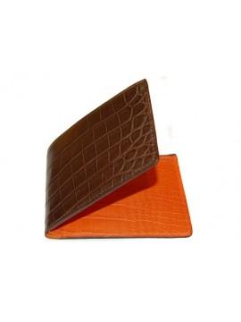 Porte cartes/porte billets en crocodile véritable marron.
