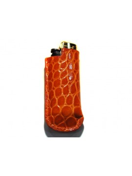 Housse de mini-bic en crocodile orange brillant