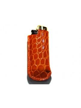 Housse de mini-bic en crocodile orange brillant